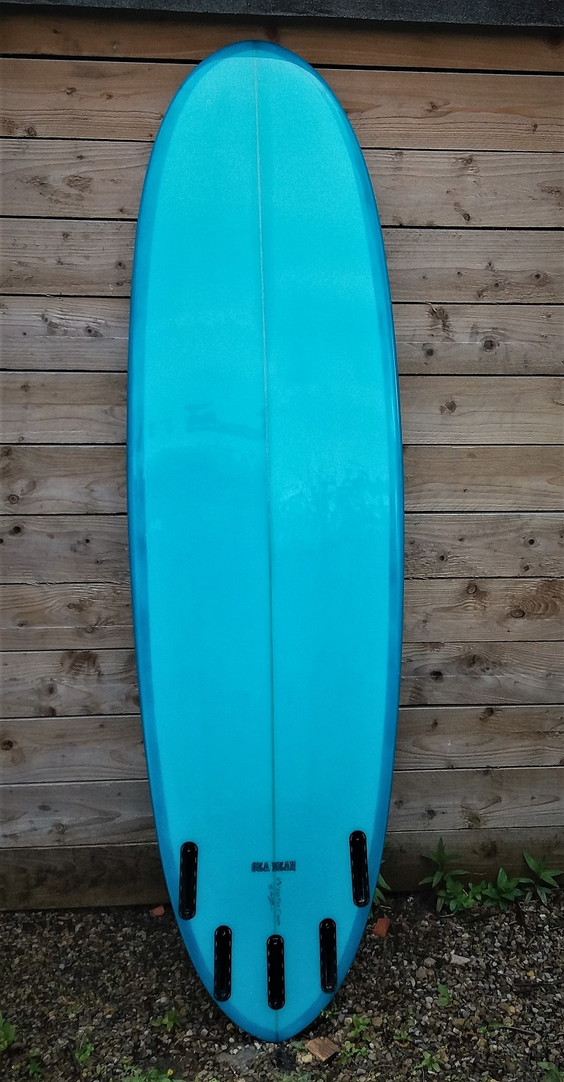 Sea Bean Funboard Surfboard withj future fins setup